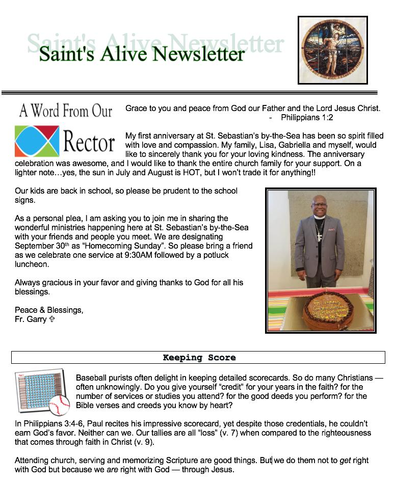SEPTEMBER 2018 – St  Sebastian's by-the-Sea Episcopal Church